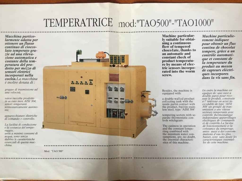 Chocolate Temperer Renato Mazzetti TAO 500